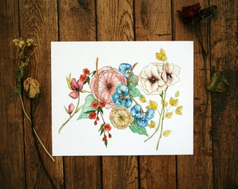 Floral Stems - Floral Watercolor Print - 8 x 10