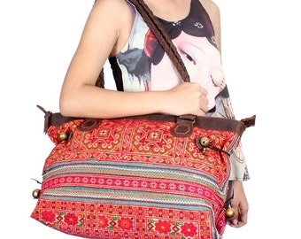 Vintage Embroidered Handbag Genuine Leather Strap Thailand (BG015L2S10.1)