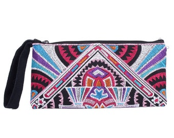 Pink Wristlet Purse With Embroidered Fabric Handmade Thailand (BG4552CH-4C8)