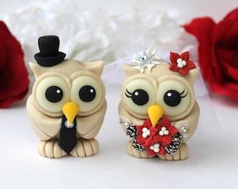 Wedding owl cake topper, winter wonderland wedding, Christmas cake topper, winter cake topper, bride groom love birds, champagne wedding