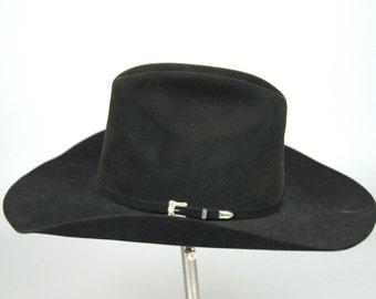 Vintage Sterling Resistol Western Hat Black Gold w/ Sterling Hat Band Wide Brim Long Oval Black Wool Cowboy Hat size 6 7/8