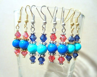 Glass Bead & Crystals Gold or Silver Dangle Earring, Handmade Original Fashion Jewelry, Casual Style Patriotic Summer Color Ladies Gift Idea