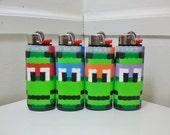 Set of 4 Teenage Mutant Ninja Turtles Perler Bead LIGHTER CASES - tmnt - nintendo