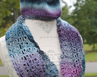 Knit Hat with Broomstick Lace Cowl-Adult or Teen-Blues and Purple Tones-Lighter Weight Wool