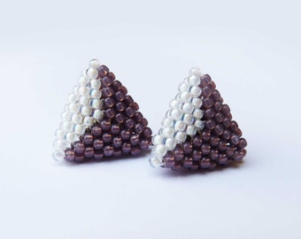 Triangle Studs - Geometric Beaded Jewellery - Purple and white