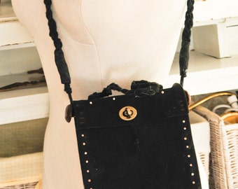 Black Suede Cross Body Handbag