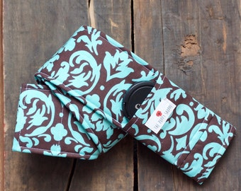 DSLR Camera Strap Cover- lens cap pocket and padding included- Turquoise and Brown Damask