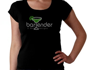 Bartender RHINESTONE t-shirt tank top sweatshirt - S M L XL 2XL - Select Rhinestone Color - Margarita glass Bartend Serve Bar Drinking Cockt