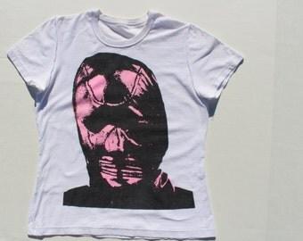 Punk Tshirt- Gimp Mask - Seditionaries Sex-Kitsch Fluorescent pastel pink - crop top -white cotton - XS petite- screen print-mature Adult 32