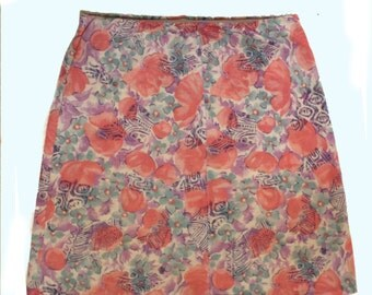 Vintage pastel floral skirt - cotton mini skirt - retro ditsy flowers - lilac pink - stretch cotton short skirt - small size 26-30 waist