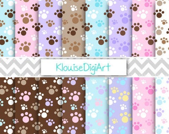 Pink, Blue, Purple and Brown Puppy Dog Paw Prints Printable Digital Paper Pack for Personal and Small Commercial Use (0052)