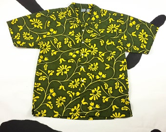 90s OP Green and Yellow Abstract Hibiscus Print Button Down Shirt / Grunge / Skater / Surfer / Y2K / Vaporwave / Rave / Club Kid / Large /