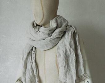MELANGE LINEN scarf / soft fringe