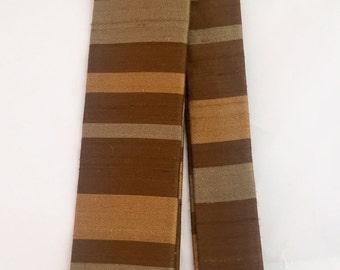 Vintage 1950s Ernst Rajah Green Brown Gold Stripe Shantung Silk Square Skinny Tie Necktie