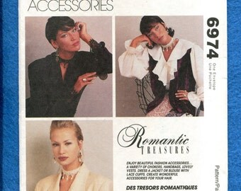 McCalls 6974 Romantic Accessories Choker Cuffs Purses & Vest UNCUT