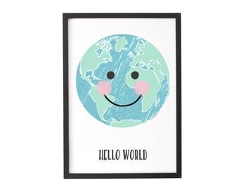 Hello World Print, New Baby Print, Nursery Wall Art, Personalised Print, Childrens Wall Art, New Baby Gift, Nursery Decor, Nursery Print