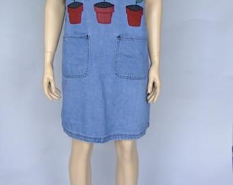 denim overall dress, jean jumper, gardening dress, overall mini dress, 80s vintage
