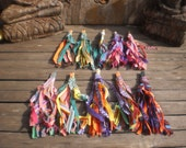 "Set Of 10, 5""inch Textile Tassel, Upcycled Tassel, Groovy Textile Tassel, Jewelry Supply, Hmong Textile,Folk Art Decoration"