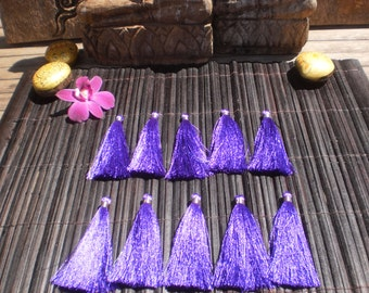 "10 Beautiful Rayon Hand made Tassels 3"" inches Set Of 10  Blue/Purple /  Silver Thread"