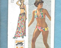 Vintage 1973 Simplicity 5644 Misses' Swimsuit, And Wrap Skirt Cover Up, Two Piece Halter Top, And Bikini Bottom, Size Medium, (12-14)