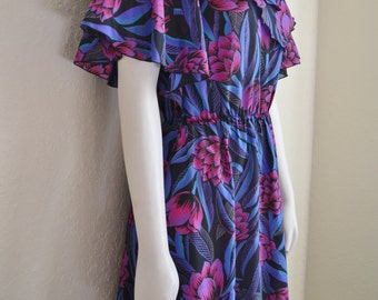 Vintage Beautiful Floral Polyester Dress 70s Layers Small Purple Blue Black Angel / Bat Wing Sleeves