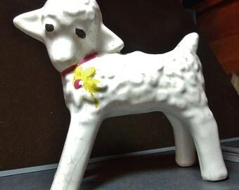 McCoy circa 1920 moulded Lamb planter, Lamb planter, lamb figurine, crackled McCoy pottery....