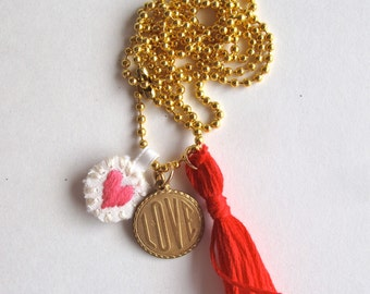 Charm necklace with hand embroidered heart, love charm and red tassel on long gold tone ball chain Valentines day gift bestie
