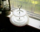 Vintage Fenton Glass Silver Crest Two Tiered Serving Plate Tray