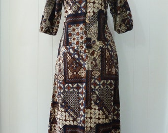 60's Batik Hawaiian Dress Hippie Aloha Lola Liberty House Cotton Toggle Caftan Maxi Gown Full Length S