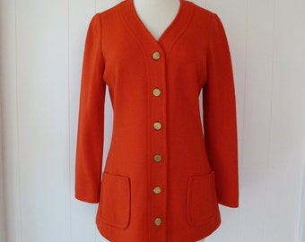 60's Mod Jacket Jean Louis for Dalton Red Orange Pure Wool Blazer Jackie O Chic Simple Minimalist Top M L