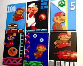Super Mario Retro Gaming Art. 8 bit Pixel Art. Perler Beads on Canvas.