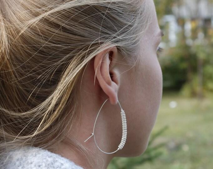 Silver Hoop Earrings Big Hoop Earrings Oval Hoop Earrings Everyday Jewelry , 2 Inch , Hoop Earings Silver Hoops Silver Minimalist earrings