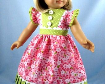 Doll Clothes American Girl - 18 Inch Doll Clothes - Pink Floral Doll Dress - Doll Dress and Hair Bow