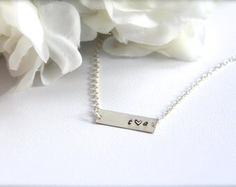 Sterling Silver Name Bar Necklace, Hand Stamped Engraved Personalized Necklace Inspirational Word FREE Gift Packaging