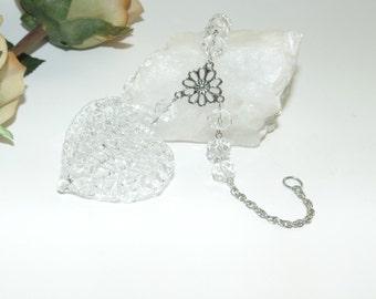Filigree hart and crystals - Rear view mirror hanging, car charm