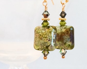 Olive Green Lampwork Glass Earrings - Green Glass Earrings - Olive Green Earrings - Glass Dangle Earrings - Green Gold Earrings
