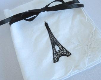 Embroidered Napkins, Vintage, Paris Napkins, Eiffel Towers, Embroidered, Hand Embroidered, Napkins, Vintage, Paris, French, Two, Tea Party