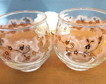 Pink and Gold Leaf-Flower Cream and Sugar Set/Pink Painted Libbey 40's Cream and Sugar Set/Baby Shower Tea Set.