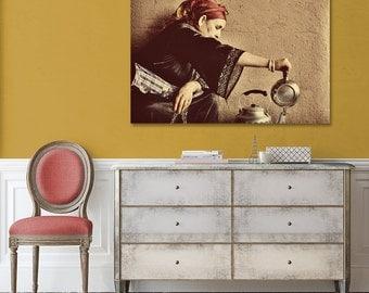 Travel Portrait, Canvas , Berber Woman, Tea Time, Large Canvas, Morocco Photography, Ethnic Decor, Moroccan, Canvas Print, Islamic Wall Art