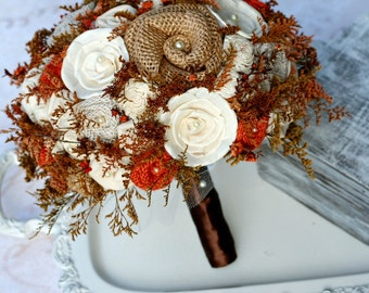 Autumn Wedding Bouquet, Bride's Bouquet, Burnt Orange Bouquet, Rustic Wedding Bouquet, Fall Wedding Bouquet, Autumn Bridal Bouquet