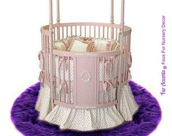 faux fur round sheepskin shag accent rug plush stylish nursery den living room all