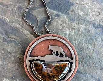 Large Wolf Pendant. Wolf Totem. 2 stones. Mixed Metal. Petrified Palm wood, Carnelian. Spirit animal. Wolves. Full Moon. Lone wolf.