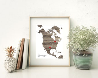 North America or ANY STATE Map - Custom Personalized Heart Print - USA & Canada - Hometown Wall Art Gift Souvenir - Natural Series  bridal