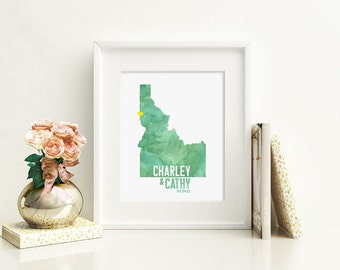 Idaho or ANY STATE Wedding Map Art - Custom Personalized Watercolor Anniversary Print - Hometown Wall Art Water Color Gift Souvenir