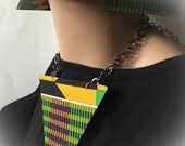 African Fabric Covered Necklace and Earrings Set Afrocentric Jewelry Kente Fabric