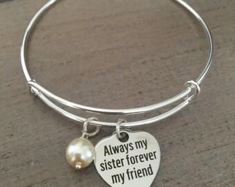 Sister Bracelet, Sister Jewelry, Sister Bangle Bracelet, Maid Of Honor Gift