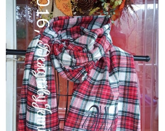 Plaid Blanket Scarves ~ Monogramming Available ~ Many Styles and Colors ~ Soft Cotton Flannel ~ READY TO SHIP