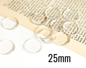 10 Cabochons 25mm Flat - Bottlecaps - WHOLESALE - Clear Glass  - Ships IMMEDIATELY  from California - G109