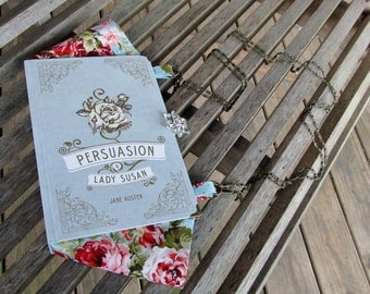 Persuasion by Jane Austen - Greyish/Blue Book Purse - Made to Order