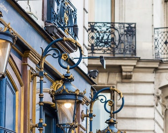 Paris Cafe Photograph, Evening at Laperouse, Large Wall Art, French Kitchen Decor, Fine Art Travel Photograph, Large Wall Art